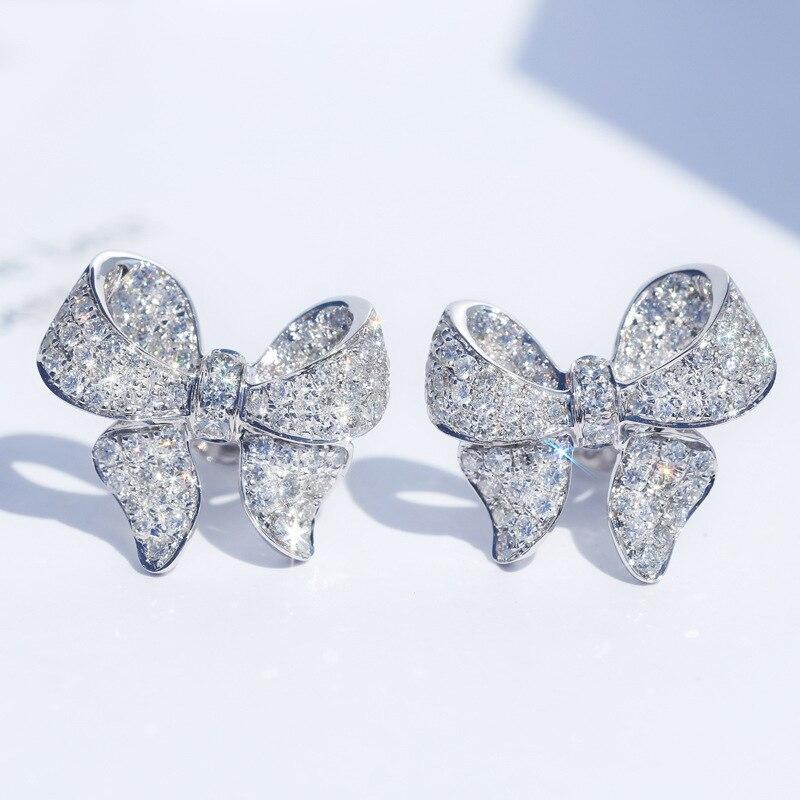 New Arrival 925 Silver Color Cute Bowknot Stud Earrings For Women With Zircon Stone Fashion Korean Earrings Jewelry 2019 New