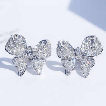 New Arrival S925 Silver Color Cute Bowknot Stud Earrings for Women with Zircon Stone Fashion Korean Jewelry 2019 - discount item  48% OFF Fashion Jewelry