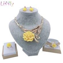 цены Dubai Classic Jewelry Yellow Rose Necklace Creative Bridal Wedding Jewelry Crystal Bracelet Ring Earrings for Jewelry Set