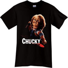 CHUCKY Child Play Horror Thriller Movie Black T-Shirt TShirt Tee Size  Cartoon t shirt men Unisex New Fashion tshirt