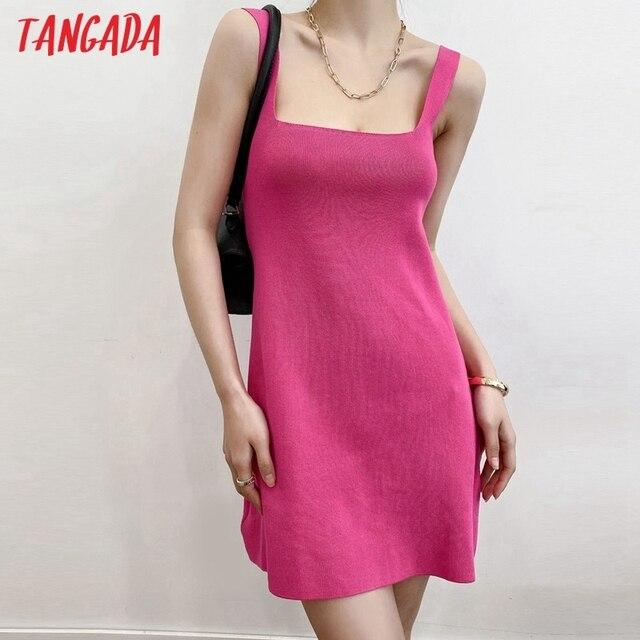Tangada Fashion Women Solid Elegant Candy Color Knit Dress Sleeveless 2021 Summer Ladies Dress AI57 2
