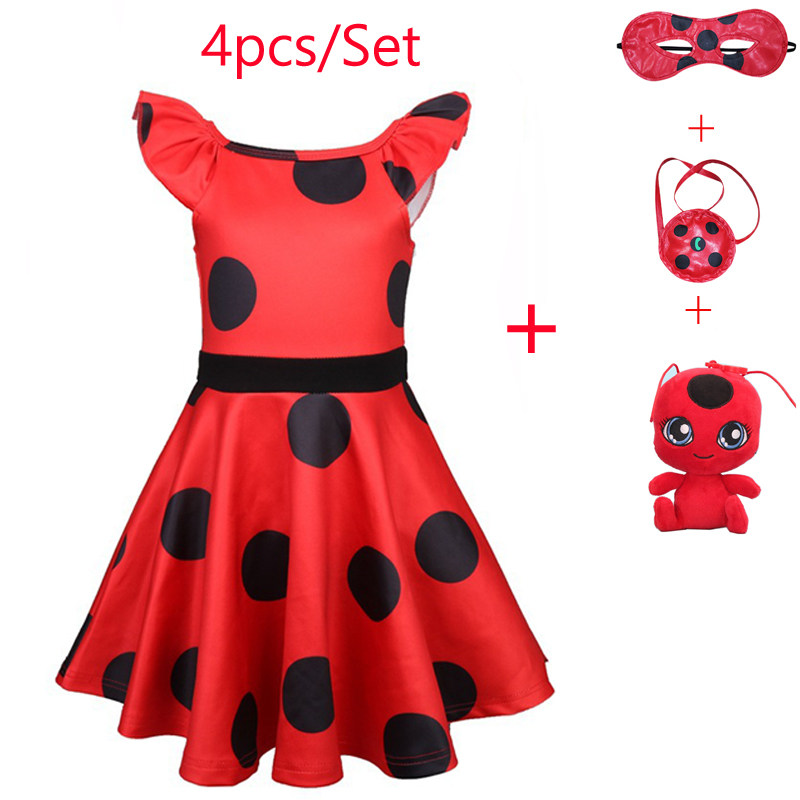 New Children Lady Bug Red Dot birthday Party Dress toys masks Costume Kids Girls Clothes Ladybug Halloween Cosplay Dress 3-10Y
