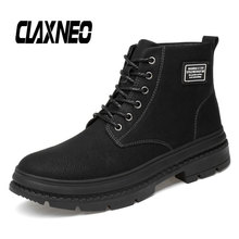 CLAXNEO Man Boots High Top Leather Shoes Male Winter Boot Fur Warm Snow Shoe Plush
