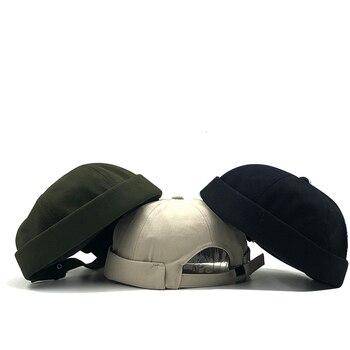 Men Street Casual Docker Sailor Biker Hat Loop Beanie Brimless Cap Fashion Unisex Pumpkin Vintage Navy Beanies