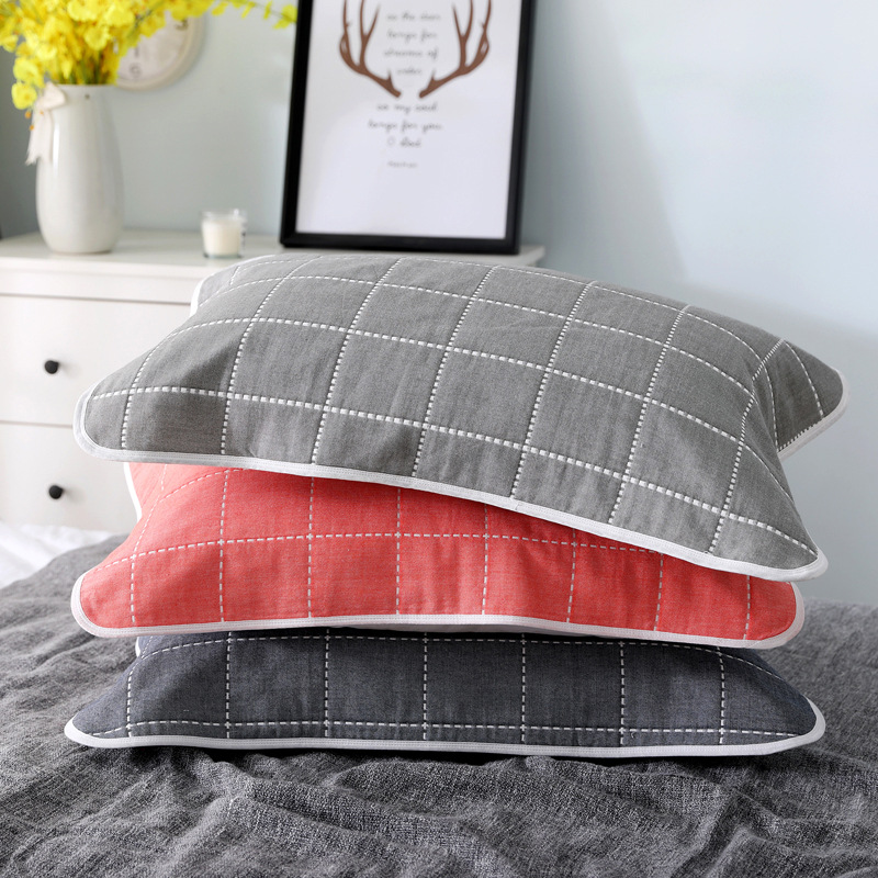 2pcs Adult Children's Pillow Towel Six-layer Gauze Lattice Cartoon Cotton Home Children's Pillow Towel Home Textile Supplies image