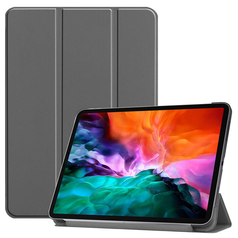 Gray White For iPad Pro 12 9 2021 Case PU Leather Folding Stand Hard PC Back Smart Cover