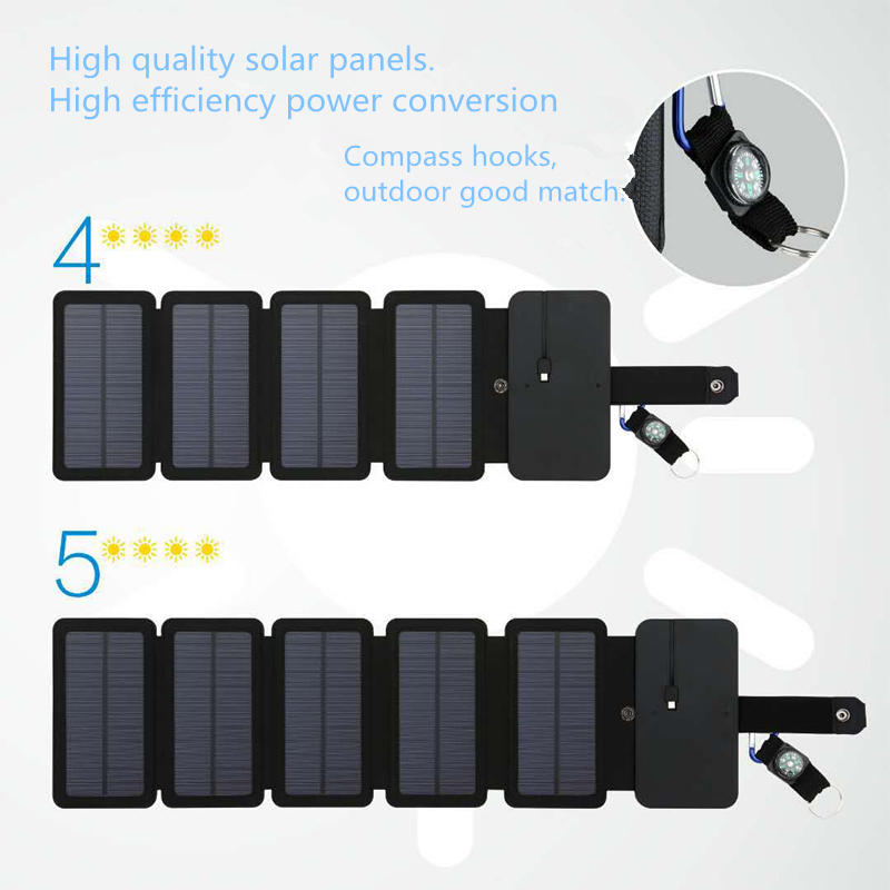 SunPower folding <font><b>10W</b></font> Solar Cells <font><b>Charger</b></font> 5V 2.1A <font><b>USB</b></font> Output Devices Portable Solar Panels for iphone Samsung for Smartphones image
