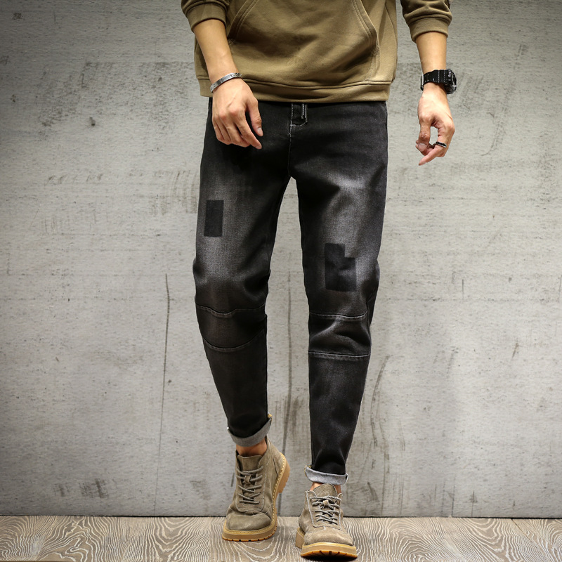 Jeans Men's Loose-Fit Black And White With Pattern Elasticity Skinny Pants Plus-sized Menswear Japanese-style Harem Pants Youth
