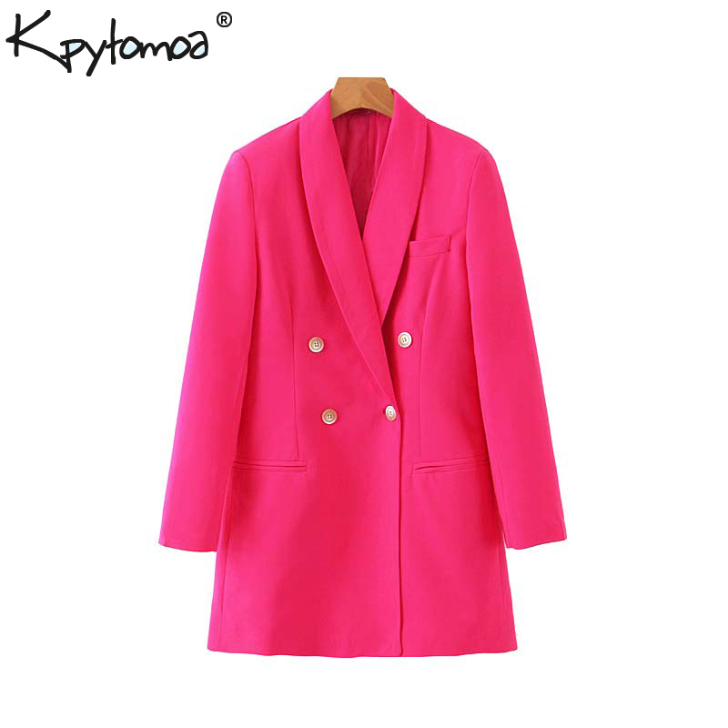 Vintage Stylish Office Lady Double Breasted Blazers Coat Women 2020 Fashion Notched Collar Long Sleeve Outerwear Chaqueta Mujer