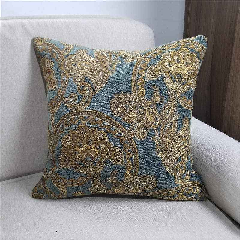 Classic European Paisley Brick Red Blue Chenille Woven Jacquard Decorative  Pillow Case Sofa Chair Cushion Cover 45x45cm 1pc/lot