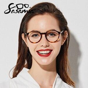 Image 2 - SASAMIA gözlük yuvarlak Retro Demi gözlük kadın optik daire gözlük çerçeve Vintage asetat gözlük çerçeveleri kadin Trends