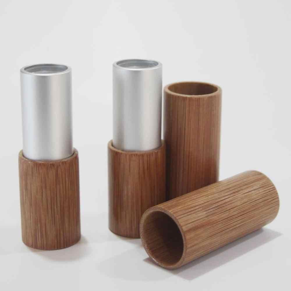 4G 10 Pcs/lot Emas Perak Bambu Tabung Lipstik Kelas Atas Lip Balm Sub Paket Kosong Diseduh Sendiri High-End bambu Lipstik Wadah