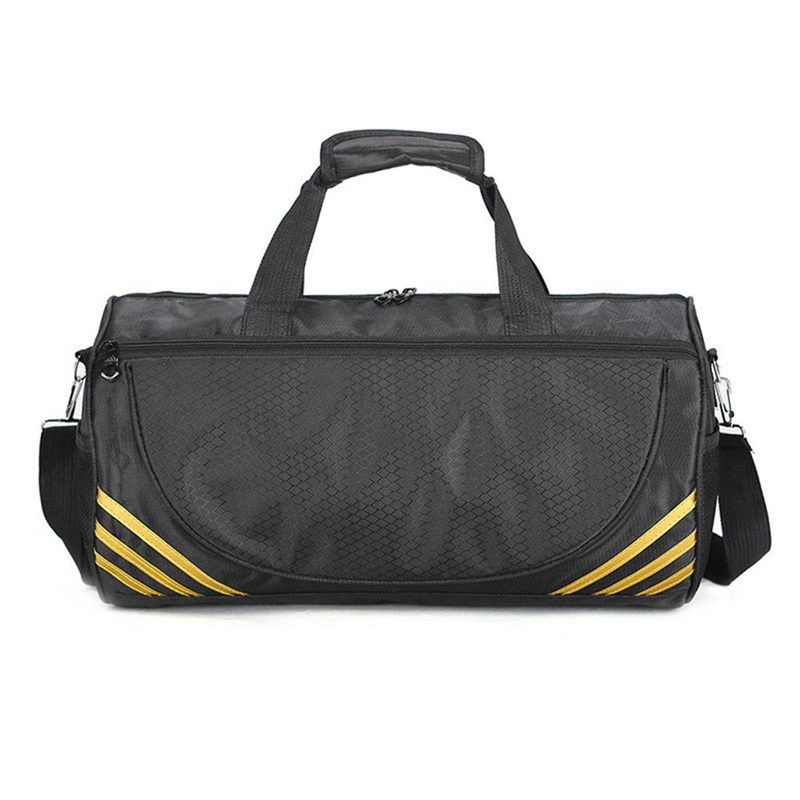 Outdoor Sports Training Gym Bags Fitness Travel Outdoor Sports Bag Handbags Shoulder Dry Wet Shoes For Women Men-Black+Yellow