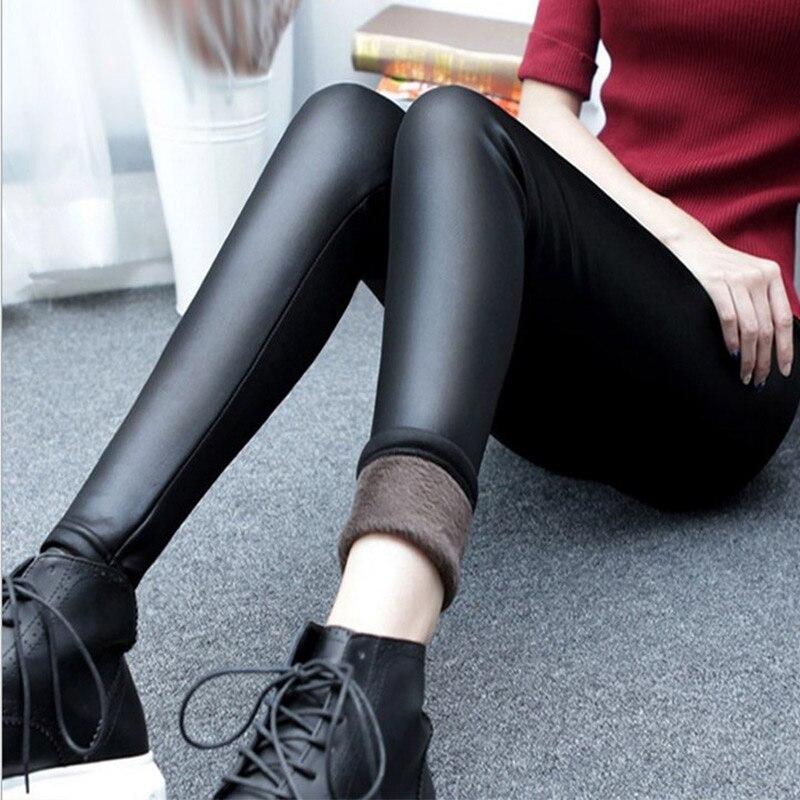 Women Winter Faux Leather Pants Warm Velvet Pant High Waist Trousers Female Thick Stretch Pantalon Femme Plus Size 4XL