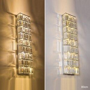 Image 4 - Applique da parete lunga applique da parete moderna in cristallo applique da parete a LED in cristallo soggiorno lampade da parete in cristallo lampade da camera da letto applique nordiche