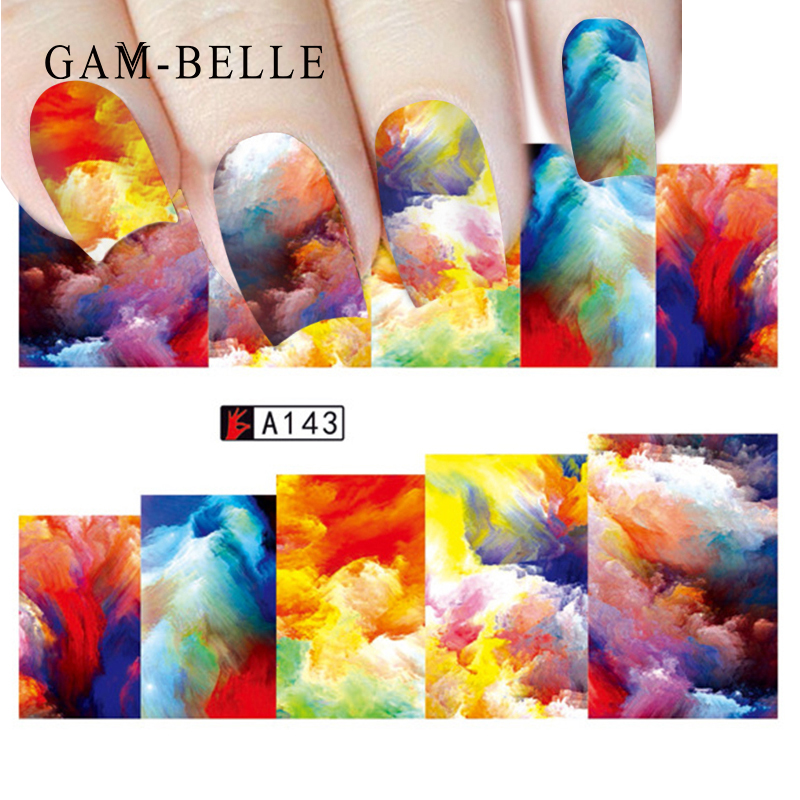 GAM-BELLE 1 Sheet Optional Colorful Water Transfer Nail Sticker Rainbow Image Nail Art Decorations Decals