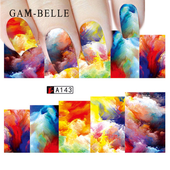 цена на GAM-BELLE 1 Sheet Optional Colorful Water Transfer Nail Sticker Rainbow Image Nail Art Decorations Decals
