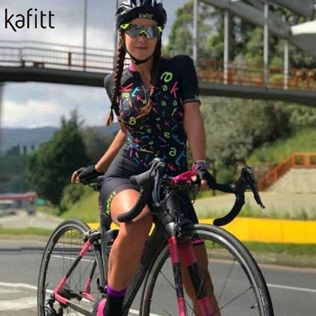 Kafitt Pro equipe triathlon terno das mulheres Macacão de manga curta Camisa de ciclismo Skinsuit Maillot Vestuário ciclismo ciclismo setgel 2