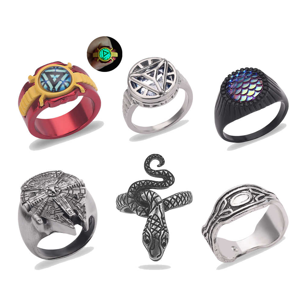 The Avengers Rings Super Heros Series Green Lantern Aquaman Iron Man Captain America Thanos Anillos For Me Dropshipping Jewelry
