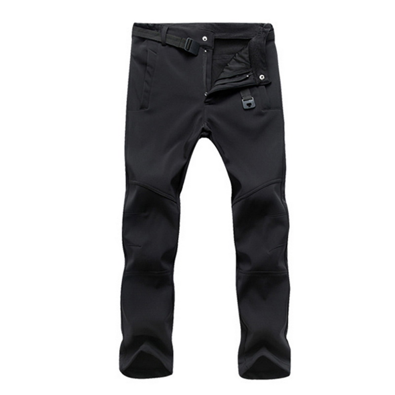 Male Pants Fashion Men's Outdoor Winter Thicken Slim Fit Soft Fleece Thermal Waterproof Pants High Waist Pant