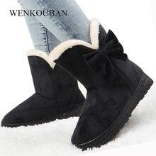 Botas de nieve de Invierno para Mujer Botas de piel con lazo al tobillo zapatos de felpa con plataforma para Mujer Botas negras antideslizantes con mariposa cálida Mujer Invierno 2019