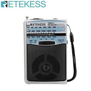 Image 1 - Retekess TR611 휴대용 FM AM SW 3 밴드 라디오 이어폰 잭 USB TF 플레이어 지원 MP3 형식