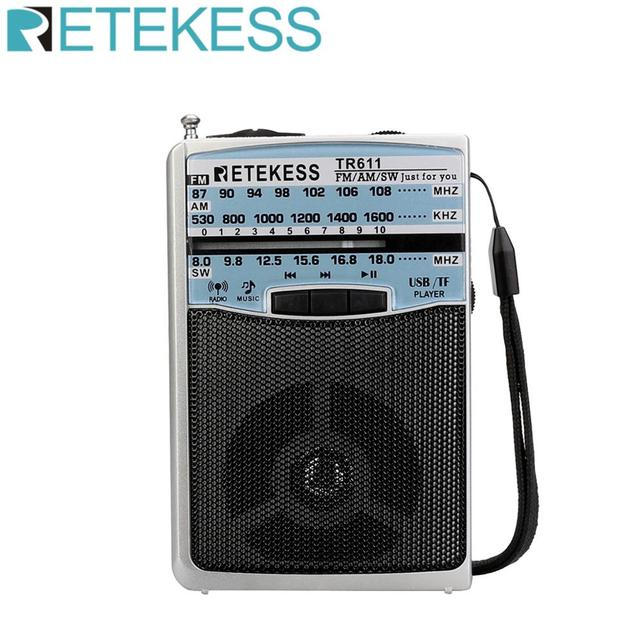Retekess TR611 휴대용 FM AM SW 3 밴드 라디오 이어폰 잭 USB TF 플레이어 지원 MP3 형식