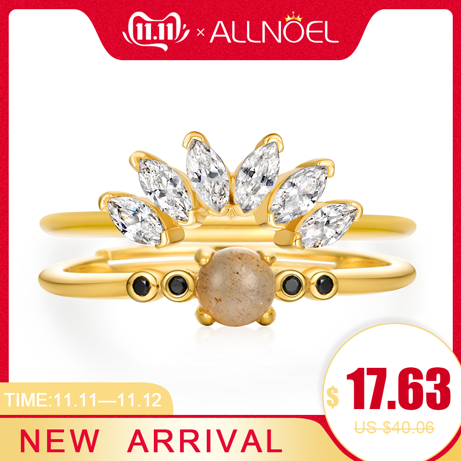 ALLNOEL Silver 925 Sterling Silver Rings For Women 5A Zircon Diamond Natural Labradorite Gemstone Unique Design Stackable Rings