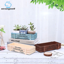 Strongwell Wooden Storage Box Mini Retro Old Succulent Plant Flower Pot Multi-Functional Finishing Home Decorations Ornament