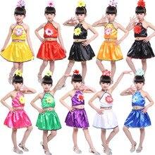 2PCs Girls Belly Dance Costumes Crop Top Skirt Clothing Set