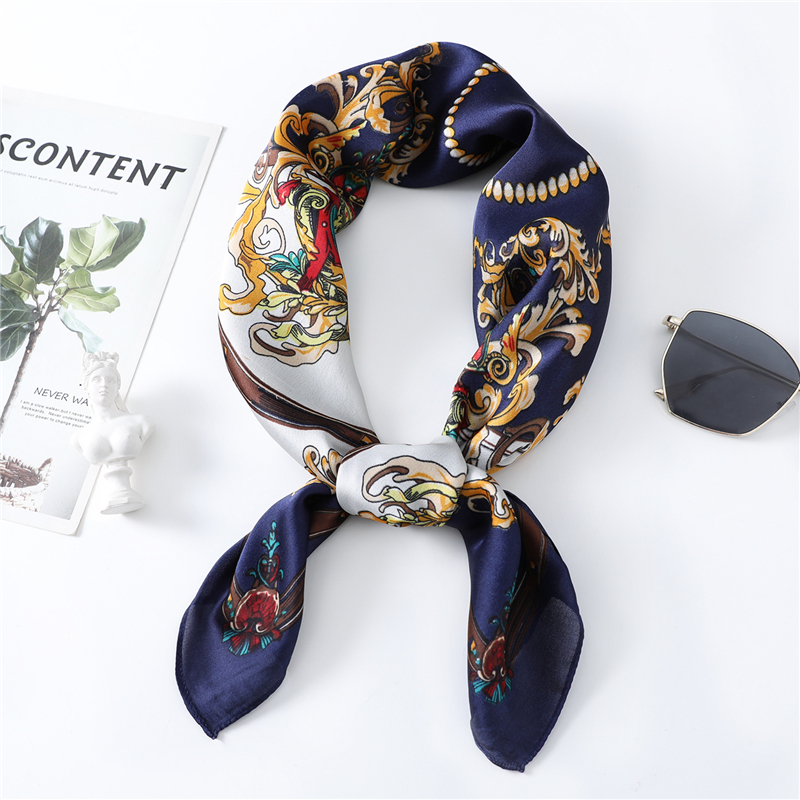 Luxury Designer Silk Scarf Women 70x70cm Square Neck Scarves Small Foulard Bandana 2020 New Brand Shawls High Quality For Lady