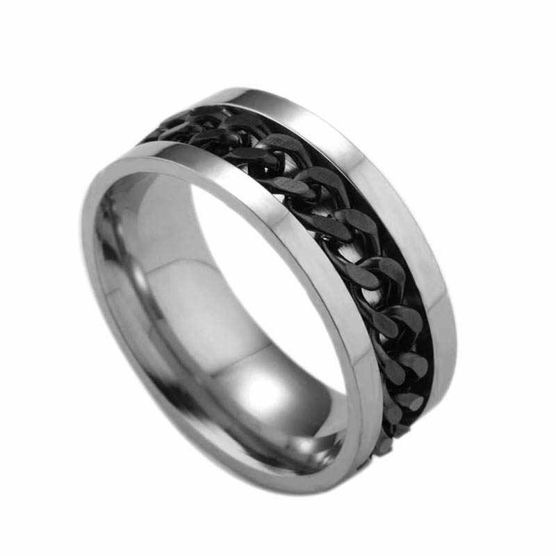 New Fashion Men Spinner Chain Ring Punk Titanium Steel Metal Finger Jewelry Gifts MV66