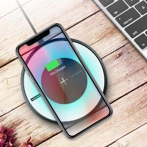 Image 1 - Беспроводное зарядное устройство 10 Вт для Samsung Note 10/S10/S10 Plus/S9, быстрая Беспроводная зарядная площадка, сертификат Qi, для iPhone XS/8 Mi 9, зарядное устройство