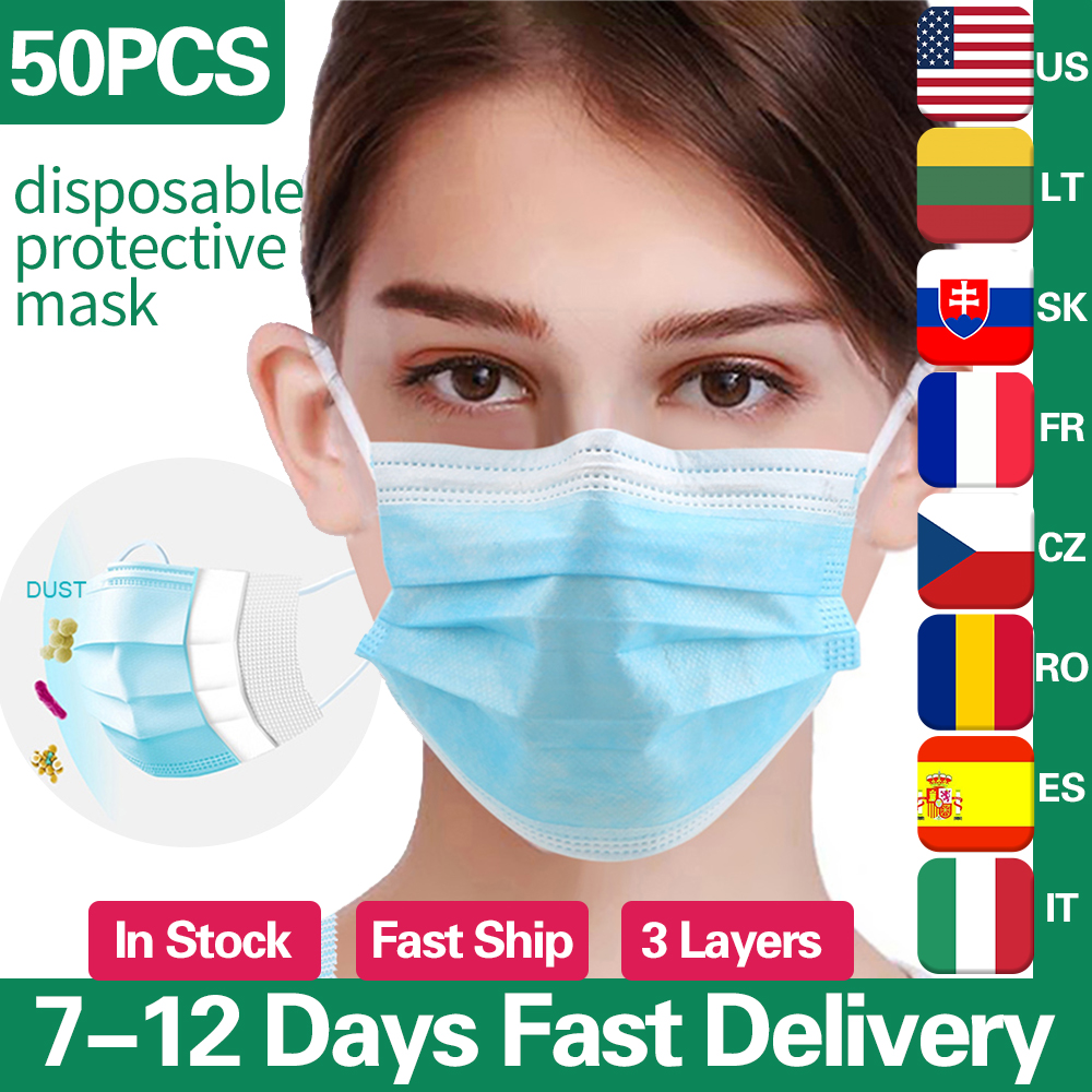 DROPSHIPPING Wholesale 100pcs In Stock Disposable Anti Dust Mask Mouth Korean Blue Face Mask Protective Masks 3 Layer Non Woven