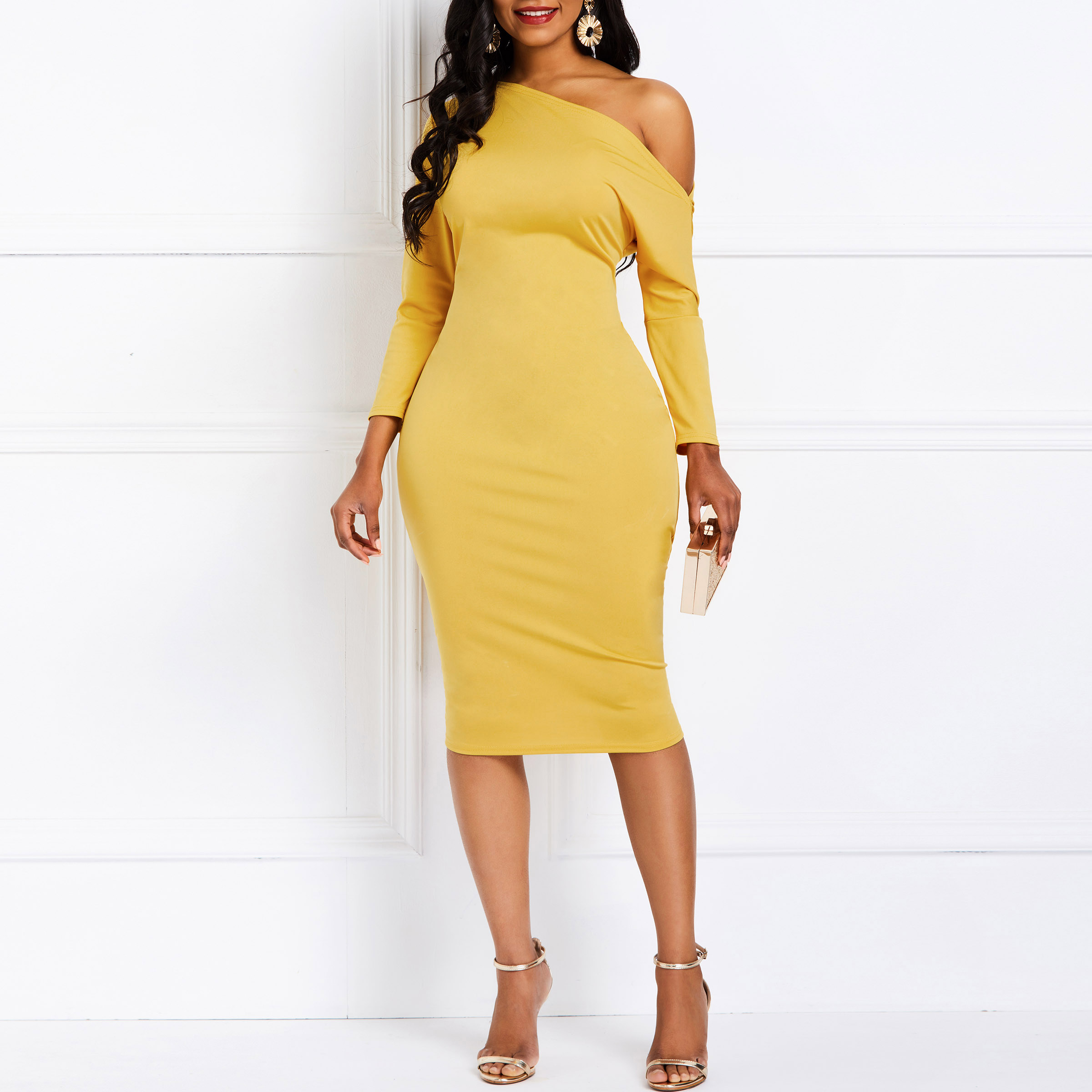 One Shoulder Bodycon Cocktail Party Dress Women Spring Vintage Midi Elegant Dresses Sexy Fashion Yellow Slim Dinner Dresses