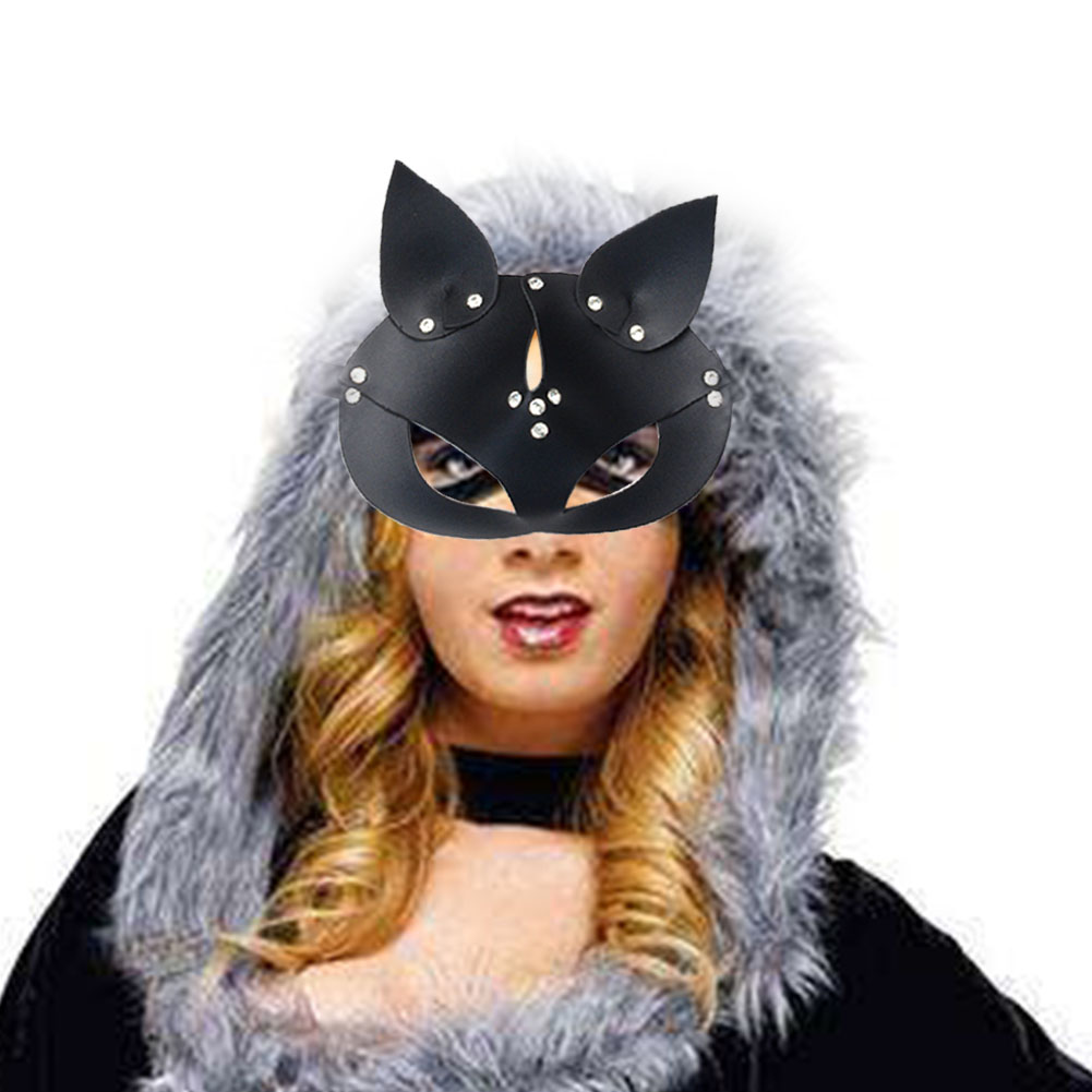 Costume Prop Cosplay <font><b>Sexy</b></font> Masquerade Handmade Festival Dress Up Party Adults PU Leather <font><b>Cat</b></font> Head Adjustable Halloween <font><b>Mask</b></font> image