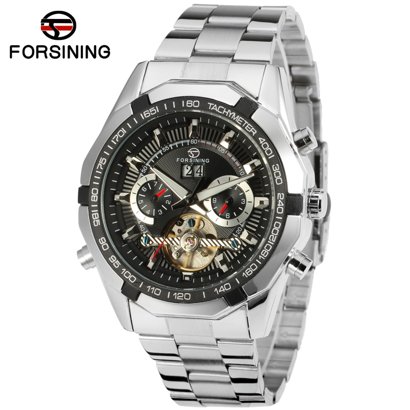 Fashion Forsining Top Luxury Brand Automatic Men's Stainless Steel Watch 3ATM Water Resistant Custom Chronograph Watches Man