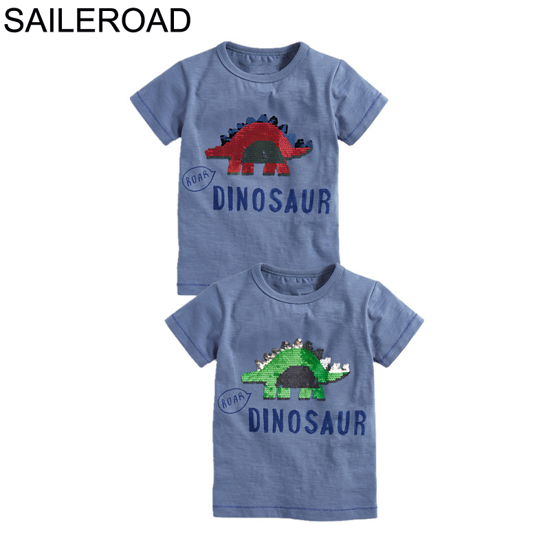SAILEROAD Boys t-shirts Green Dinosaur Face-changing Red Dinosaur Paillettes Shirts for Kids Clothes Sequins T Shirts Children 2