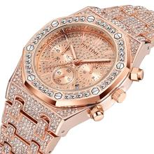 Rose Gold Mens Watches Top Brand Luxury Diamond Male Clock Chronograph