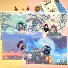 Anime Demon Slayer A4 File Bag Folder Kimetsu No Yaiba Kamado Tanjirou PVC Paper Document Bag School Office File Storage Bag