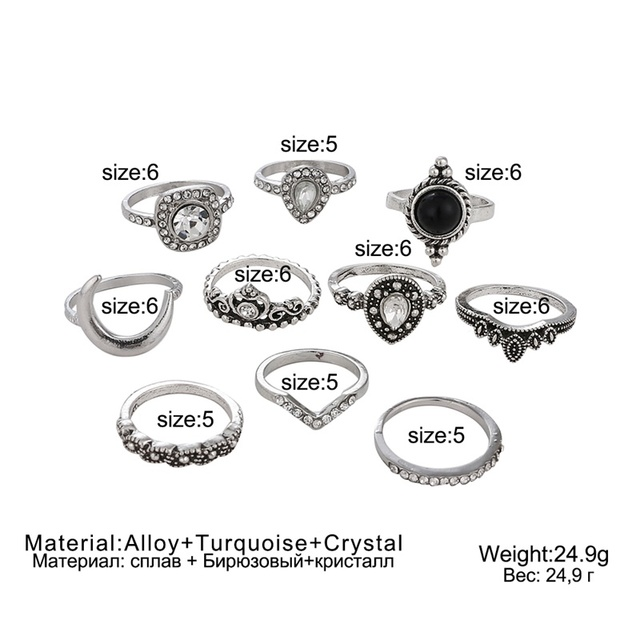 FNIO 10 Pcs/set Bohemian Retro Ring Set Gem Crown Crystal Moon Heart Waves Geometric Silver Color Ring Set Women Party Jewelry