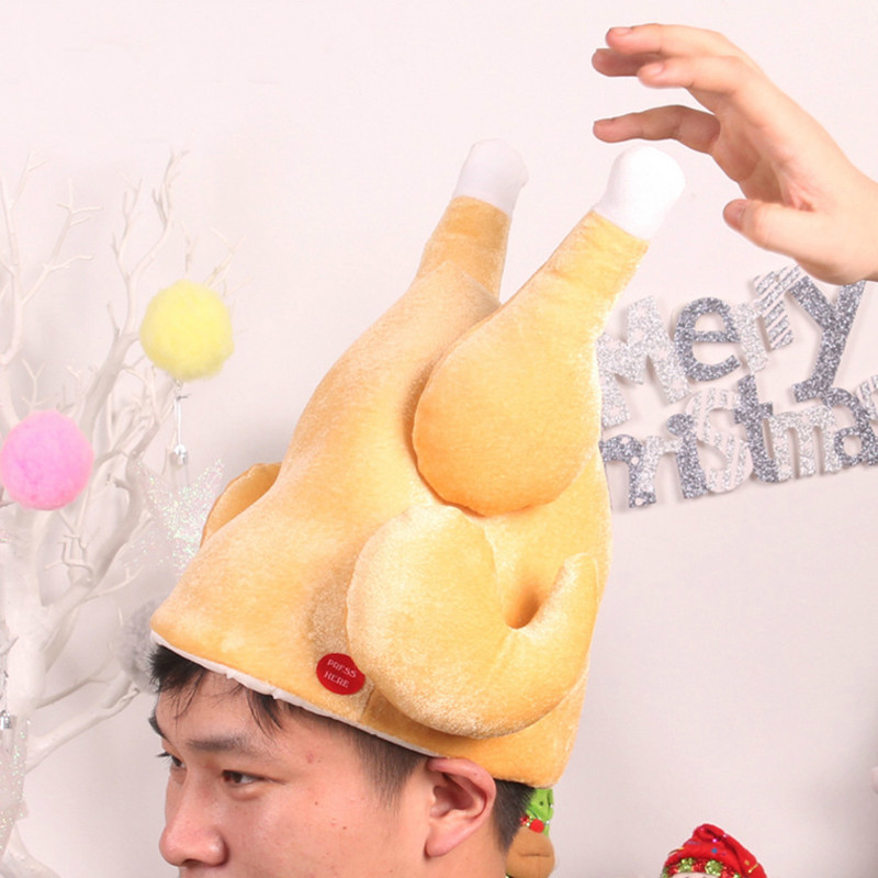 Merry Christmas Electric Turkey/Deer Ear Moving Hat Wtih MusicToy Gift Plush Deer Funny Toy Decorations KidsToys Cartoon Hats
