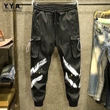 Mens Fashion Black Cargo Pants High Street Loose Print Korean Style Pencil Trousers Ankle Length Pants Male Casual Sweatpants