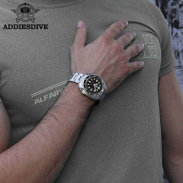 1970 Abalone Dive Watch 200m Sapphire crystal calendar NH35 Automatic Mechanical Steel diving Men's watch 6