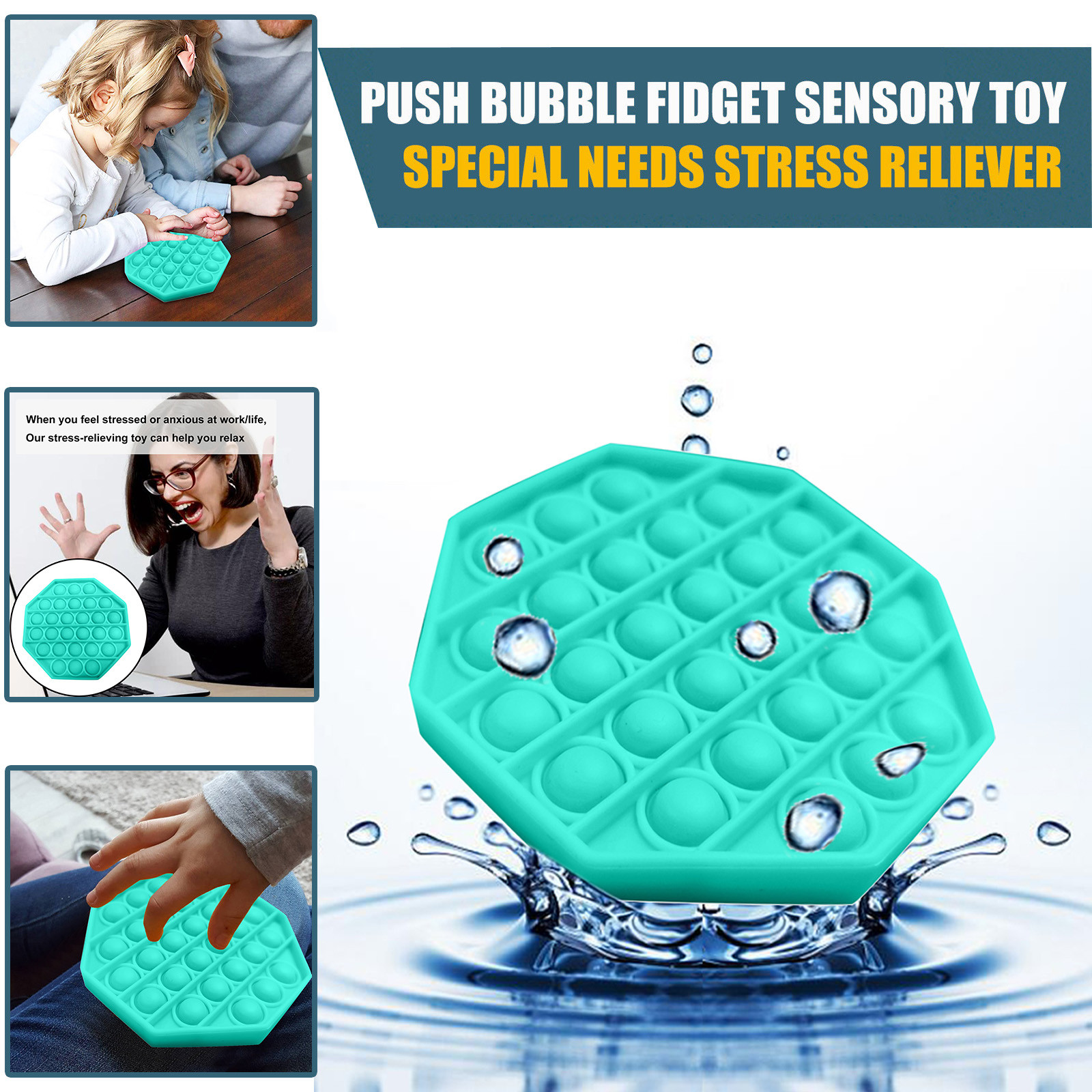 Figet Toys Stress-Ball Autism Soft-Squeeze-Toy Push Bubble Popit Special Kids Sensory-Toy img2