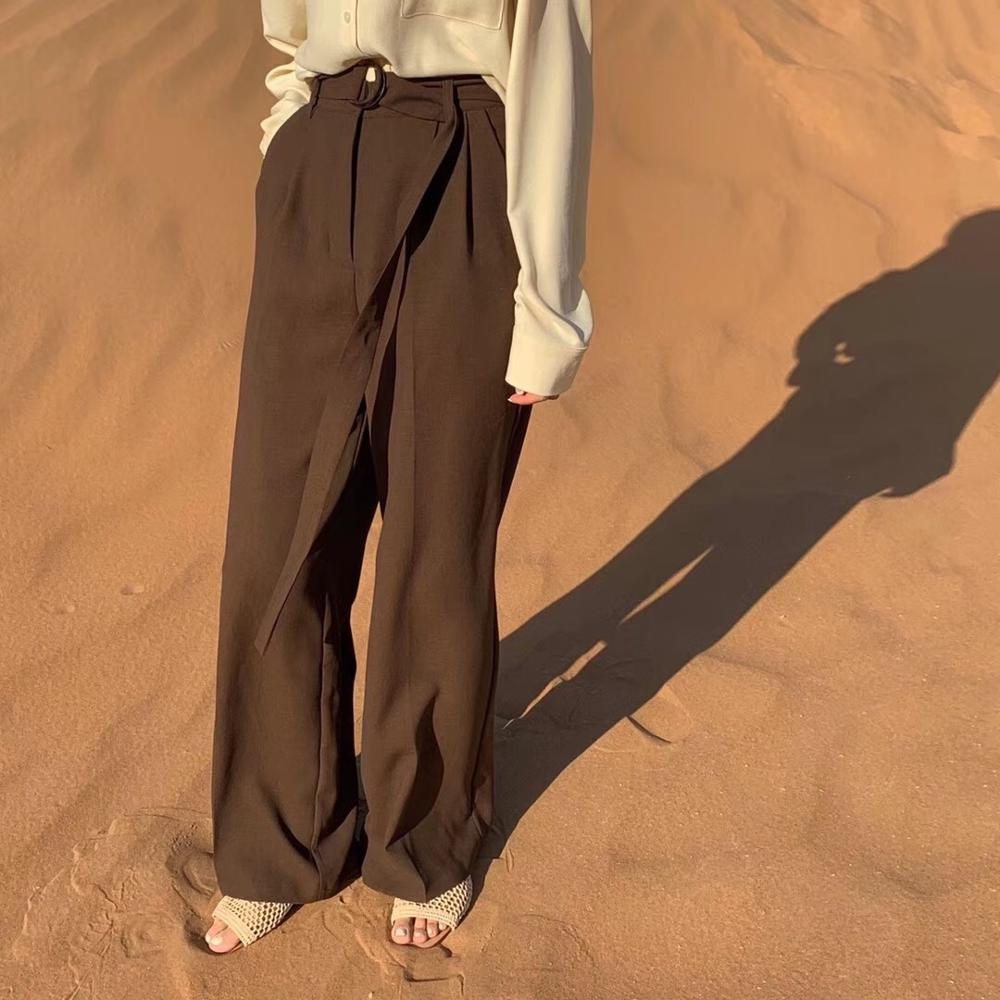 Wide     pants   Loose Casual Long   Pants     Wide     Leg     Pants   black khaki coffee with belt Stylish Trousers sprint fall autumn women new