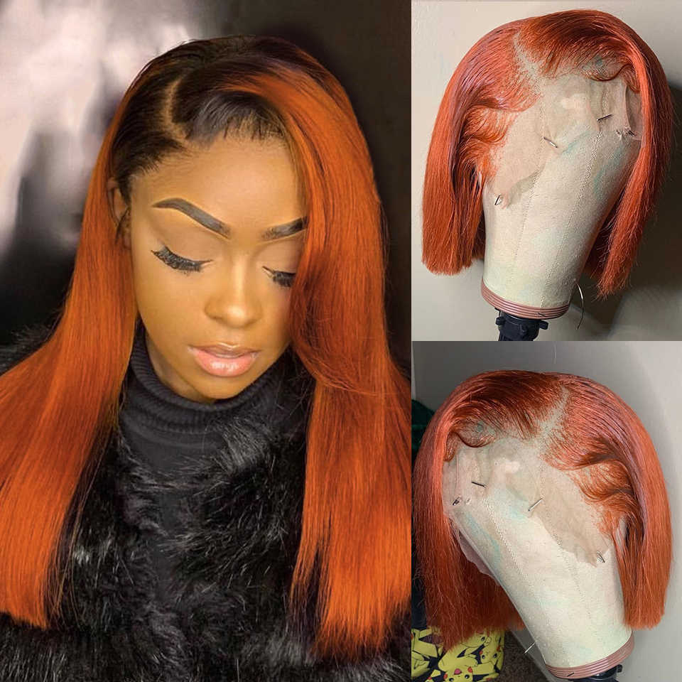 Ombre Ginger 1B Orange Short BOB Lace Front Human Hair Wigs for Black Women 13x4 Brazilian Remy Wig 150% Pre Plucked Baby Hair