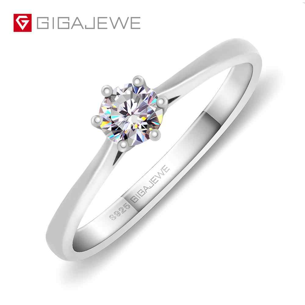 GIGAJEWE 0.3ct 4mm Round Cut EF VVS1 Moissanite 925 Silver Ring Diamond Test Passed Fashion Love Token Fashion Girlfriend Gift