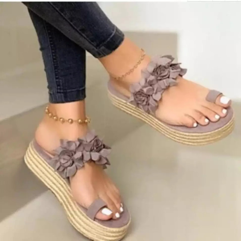 Women Summer Beach Slippers Wedges Mid Heels Shoes Women Straw Woven Flowers Ladies Sandals Flip Flops Slippers Woman