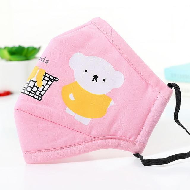 PM2.5 Cotton Kids Mouth Mask Cartoon Bear Anti Dust Face Masks Girls Mouth-Muffle Reusable Bacteria Proof Flu Mask For Children 3